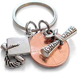 Graduate Diploma Charm Layered Over 2019 Penny Keychain With Cap Charm- Good Luck to the New Graduate; Graduation Gift