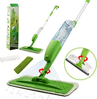 Spraying Mop Set for Floor & Window, 360° Rotation and 350ml Water Tank with Extra Refills Cloth Washable Pads
