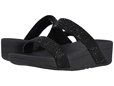FitFlop Lottie Shimmer Crystal Slide (Black/Black 2) Women