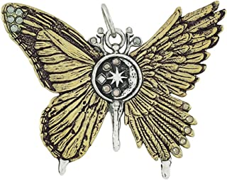 Ascension Oxidized Brass and Sterling Silver Angel and Butterfly Pendant