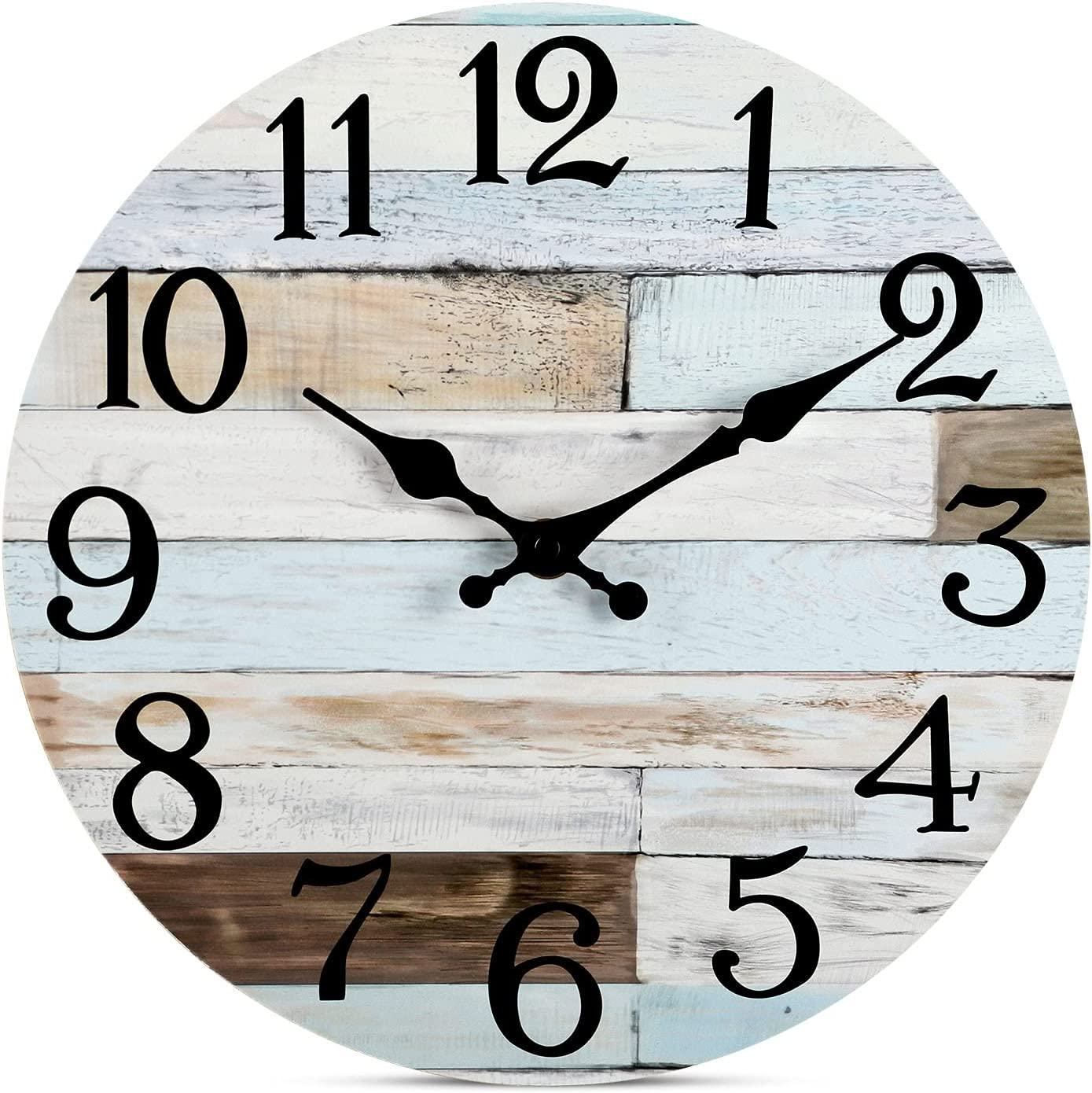 Amazon Com Wall Clock 10 Inch Silent Non Ticking Wooden Wall Clocks Battery Operated Country Retro Rustic Style Decorative For Living Room Kitchen Home Bathroom Bedroom Kitchen Dining