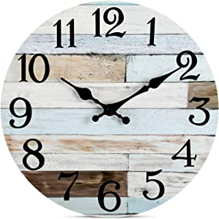 Wall Clock - 10 Inch Silent Non-Ticking Wooden Wall Clocks Battery Operated - Country Retro Rustic Style Decorative for Living Room Kitchen Home Bathroom Bedroom