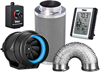iPower 6 Inch 350 CFM Inline Fan Carbon Filter, 8 Feet Non-Insulated Flex Air Aluminum Ducting, Speed Controller and Hygro...