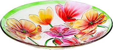 Evergreen Poppies Glass Birdbath, 18 inch Diameter