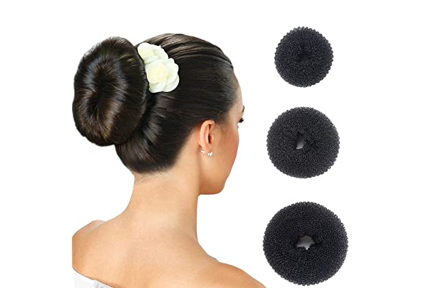 Hair Donut Bun Maker Ring Style Doughnut Shaper Chignon Former for Creating  Updo Pack of 3 Pieces(1Large+1Middle+1Samll)Black 5d348d82a45