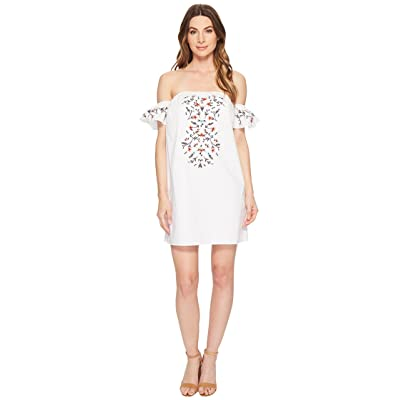 CeCe Rosanna Off the Shoulder Embroidered Dress (Ultra White) Women