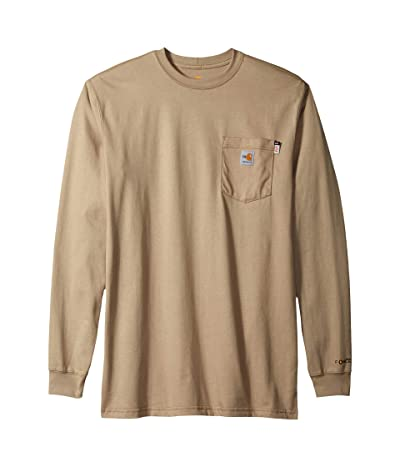 Carhartt Big Tall Flame-Resistant Force Cotton Long Sleeve T-Shirt (Khaki) Men