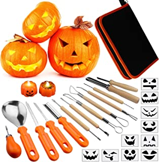 Pumpkin Carving Kit for Kids, 13 Pieces Halloween Pumpkin Carving Tools Set, 2 LED Pumpkin Candles & 10 Carving Stencils with Carrying Case Halloween Decorations