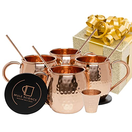 Mule Science Moscow Mule Copper Mugs - Set of 4-100% HANDCRAFTED - Pure