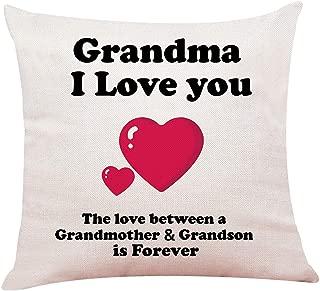 "yuzi-n Grandma Gift from Grandson, Grandma Pillow Case Cushion Cover for Sofa Couch Decor 18""x 18""Inch, Gifts for Grandma Birthday"