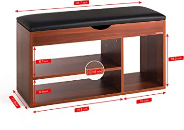 Mr IRONSTONE Shoes Bench Boot Organizing Upholstered Shoe Rack Entryway Storage, 2-Tier & 1- Hidden Compartment