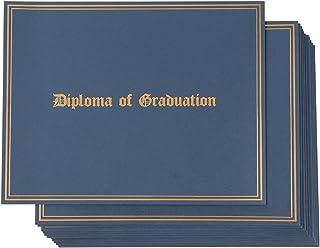 证书夹 - 12 件装毕业典礼证书封面,信件大小*证书文件夹,毕业证书金箔设计,29.21 x 22.7 厘米 蓝色