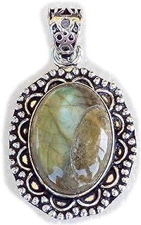 Labradorite Pendant, Silver Plated Brass Pendant, Handmade Pendant, Gift Jewelry, Women Jewellry, Fashion Jewellry, BRS-12366