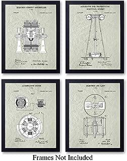 Nikola Tesla Patent Art Prints - Vintage Wall Art Poster Set - Chic Rustic Home Decor for Man Cave, Office, Living Room, Family Room, Den - Gift for Inventors, Electronics Fans, 8x10 Photo Unframed