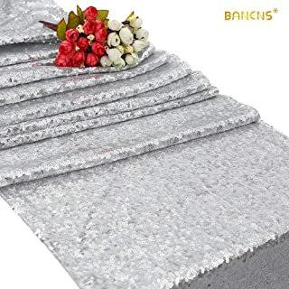 BANENS Sequin Table Runner Silver Glitter Table Runner Non-Slip Heat Resistant Tabletop Accessories Shimmer Bling Table Runners for Family Dinner Kitchen Table Catering Events Dinner Parties - Silver