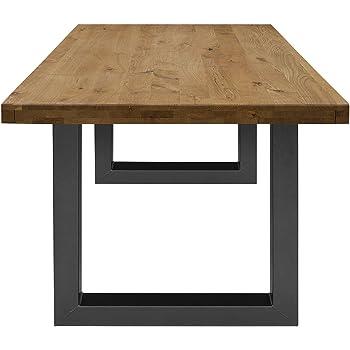 COMIFORT Mesa de Comedor - Mueble para Salon Oficina Despacho Robusto y Moderno de Roble Macizo Color Ahumado, Patas de Acero U-Forma Grafito (160x90 cm): Amazon.es: Hogar