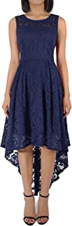 AUSERO Women's Vintage Floral Lace Sleeveless Cocktail Formal Party High Low Dress