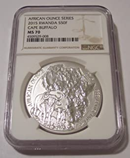 2015 RW Rwanda 1 Ounce Silver Cape Buffalo 50 Francs MS70 NGC