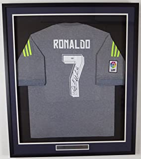 Cristiano Ronaldo Autographed Framed Real Madrid Fly Emirates Authentic Grey Jersey PSA/DNA