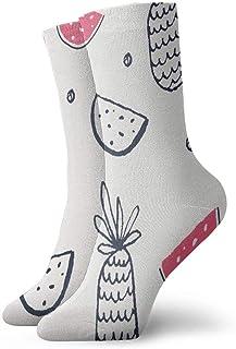 Calcetines atléticos de patrones de frutas, calcetines unisex de media pantorrilla