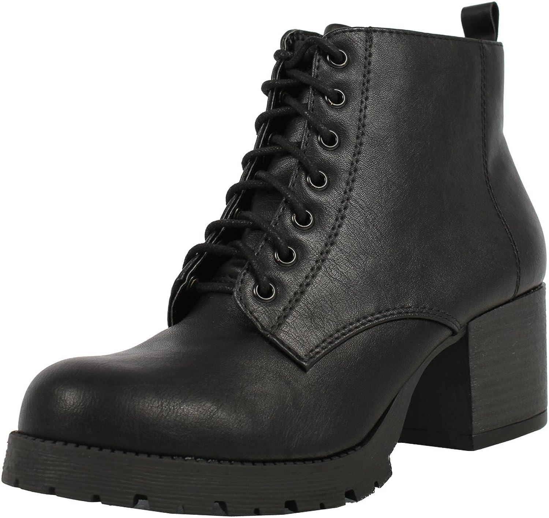 Soda Women's Nevitt Faux Leather Lace Up Chunky Heel Combat Style Boots, Black, 10 M US