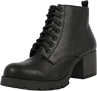 SODA Women's Nevitt Faux Leather Lace Up Chunky Heel Combat Style Boots