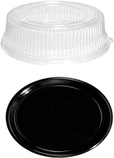 Party Essentials N912422 Soft Plastic 12-Inch Round Flat Serving/Catering Trays, Black with Clear Dome Lids, Set of 2