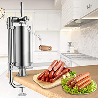 Goplus 5 Lbs/3L Vertical Sausage Stuffer Maker Stainless Steel Meat Filler, with 4 Sizes of Food-Grade Sausage Tubes for Commercial Home Use