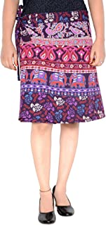 Women's Cotton Printed Knee Length Regular Wrap Around Skirt (W20NT_0002)