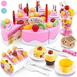 [Seoaura] [Seoaura Pretend Play Toys for Kids - DIY Cutting Birthday Cake Food Toy Set of 75PCS for Children Early Education ケーキ おもちゃ] (並行輸入品)