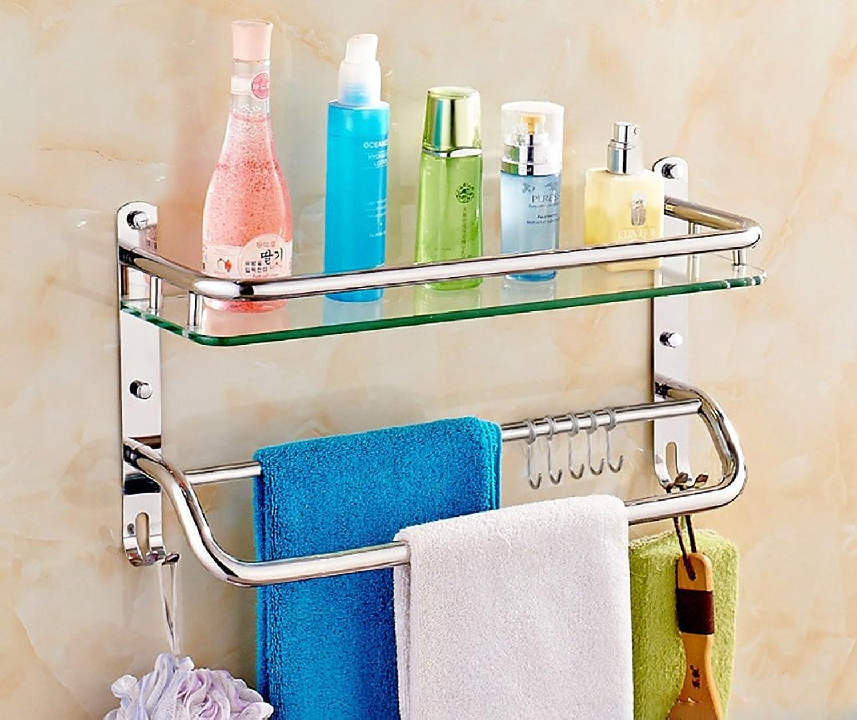 Bathroom Shelves Bathroom Shelf 304 Stainless Steel Bathroom Glass Shelf Wall-Mounted Size 41 51 611226cm (Size   41cm)