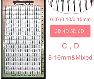 Lashes 16 Lines Premade Volume Fans 3d/4d/5d/6d Lash Russian Volume Eyelash Extensions Pre made Lash Extension Faux Mink,C,0.15mm,15mm,black 5d fans