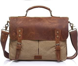 SGJFZD Men's Messenger Bag Shoulder Bag Retro with Crazy Horse Skin Official Document Canvas Bag Computer (Color : Beige, Size : M)