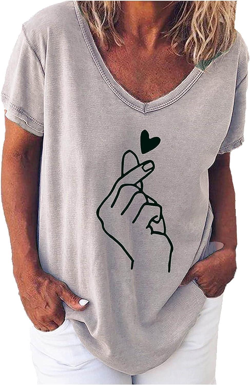 TARIENDY Heart Print Tshirt for Women Short Sleeve Tees Loose Summer Blouse Comfy V Neck Tops