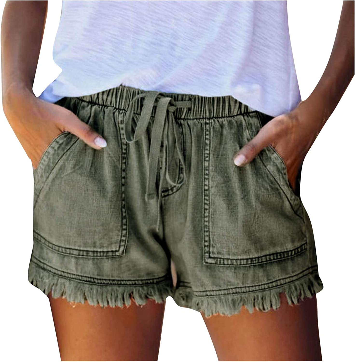 HCNTES Denim Shorts for Women,Ripped Jean Shorts for Women Mid Waisted Stretchy Denim Distressed Jeans Shorts