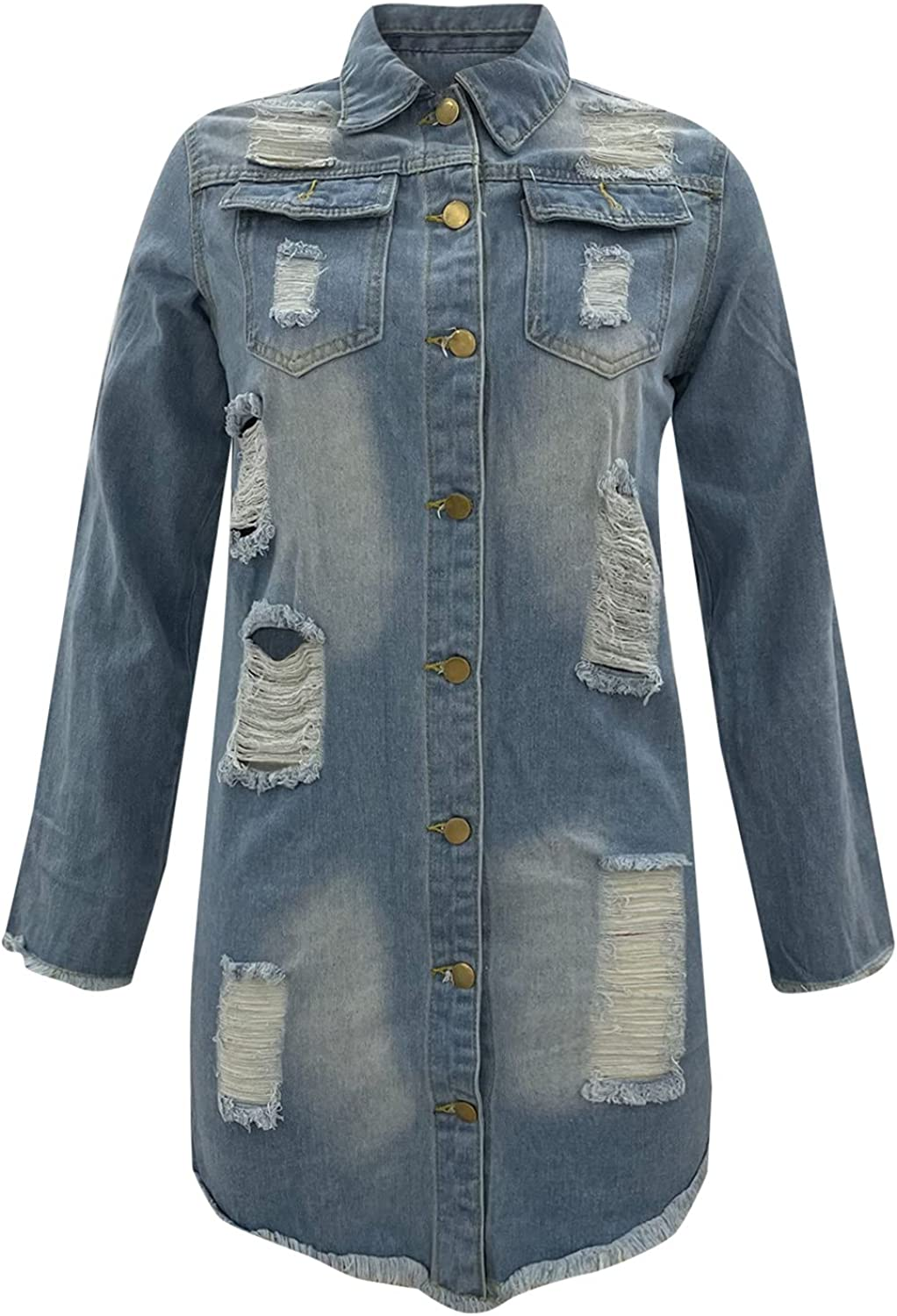 Lee-po-po Womens Classic Long Jean Jacket Plus Size Loose Long Sleeve Button Down Denim Jacket Trench Coat