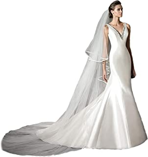 Passat Cathedral Satin-Trimmed Wedding blush Veil soft tulle with comb 212