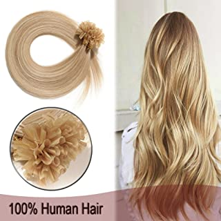 100 Strands Fusion Hair Extensions Highlight U Tip Nail Glue Pre Bonded Human Remy Hair Extensions 18