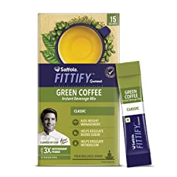 Saffola FITTIFY Gourmet Green Coffee Instant Beverage Mix for Weight Management - 30g (Classic, 15 S