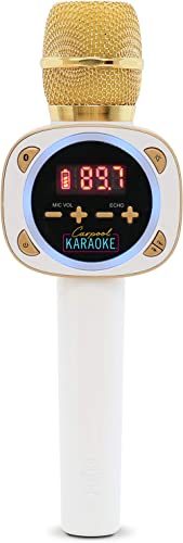 Singing Machine CPK545, Official Carpool Karaoke, The Mic, Bluetooth Microphone for Cars, White