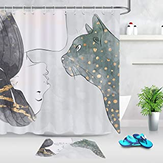 CdHBH Hand-Painted Beauty and Fierce Beast Pattern Bathroom Shower Curtain Bath mat Set Waterproof Fabric Durable Easy to Clean for Bathroom Shower Room with Flannel Material Bath mat