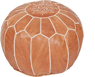 Moroccan Pouf Ottoman Footstool (Leather) Genuine Hand-Stitched Seating   Living Room, Bedroom, Sitting Area (Unstuffed, Tan)
