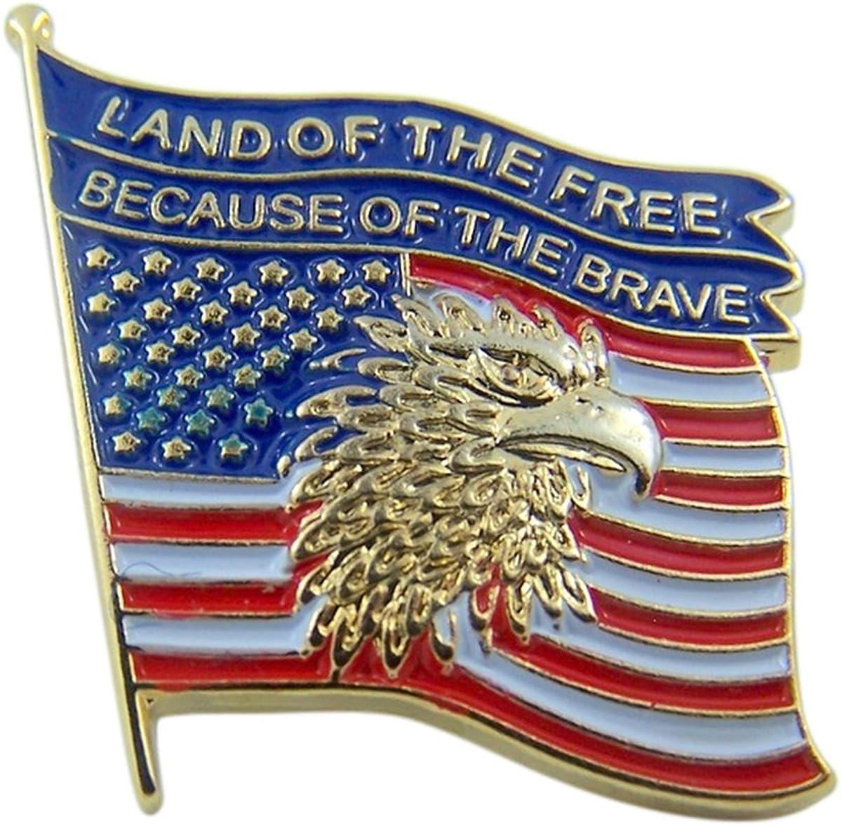 Patriotic Gold Tone Enameled United States Flag Lapel Pin