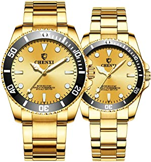 Stainless Steel Golden Watch for Men and Women, Rotating Bezel Analog Quartz Couple Watch
