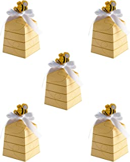 Hasken 100 Pack Bee Candy Boxes Paper Beehive Gift Box Bee Party Favor Boxes with Ribbons for Baby Shower Birthday Party D...