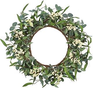 CEWOR Artificial Eucalyptus Wreath 20inch Green Leaf Wreath for Fall Festival Celebration Front Door Wall Window Party Décor
