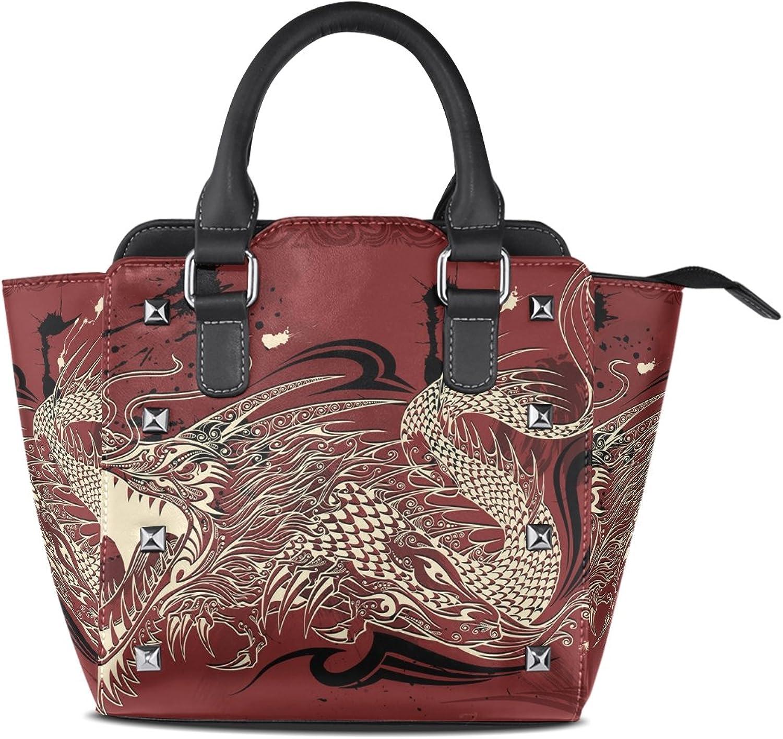 Sunlome Dragon Doodle Sketch Print Handbags Women's PU Leather Top-Handle Shoulder Bags
