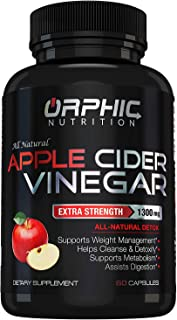 Extra Strength 1300mg Apple Cider Vinegar Capsules | Detox Pills | Prevent Bloating, Non-Stimulating | Detox, Cleanse, Manage Weight & Improve Digestion | Men & Women | Pack of 60