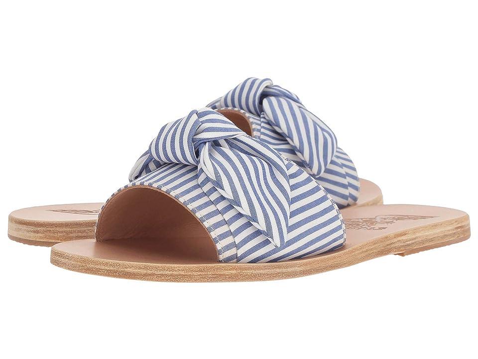 Ancient Greek Sandals Taygete Bow (Stripes Blue Print Cotton) Women