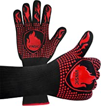 VINSIC BBQ Gloves, 1472℉ Oven Gloves Heat Resistant with Fingers Silicone Oven Mitts for Grade Kitchen Grill Gloves for Ba...